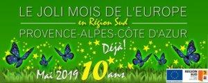 """Bandeau du """"Joli mois de l'Europe 2019 en Région SUD Provence-Alpes-Côte d'Azur""""."""