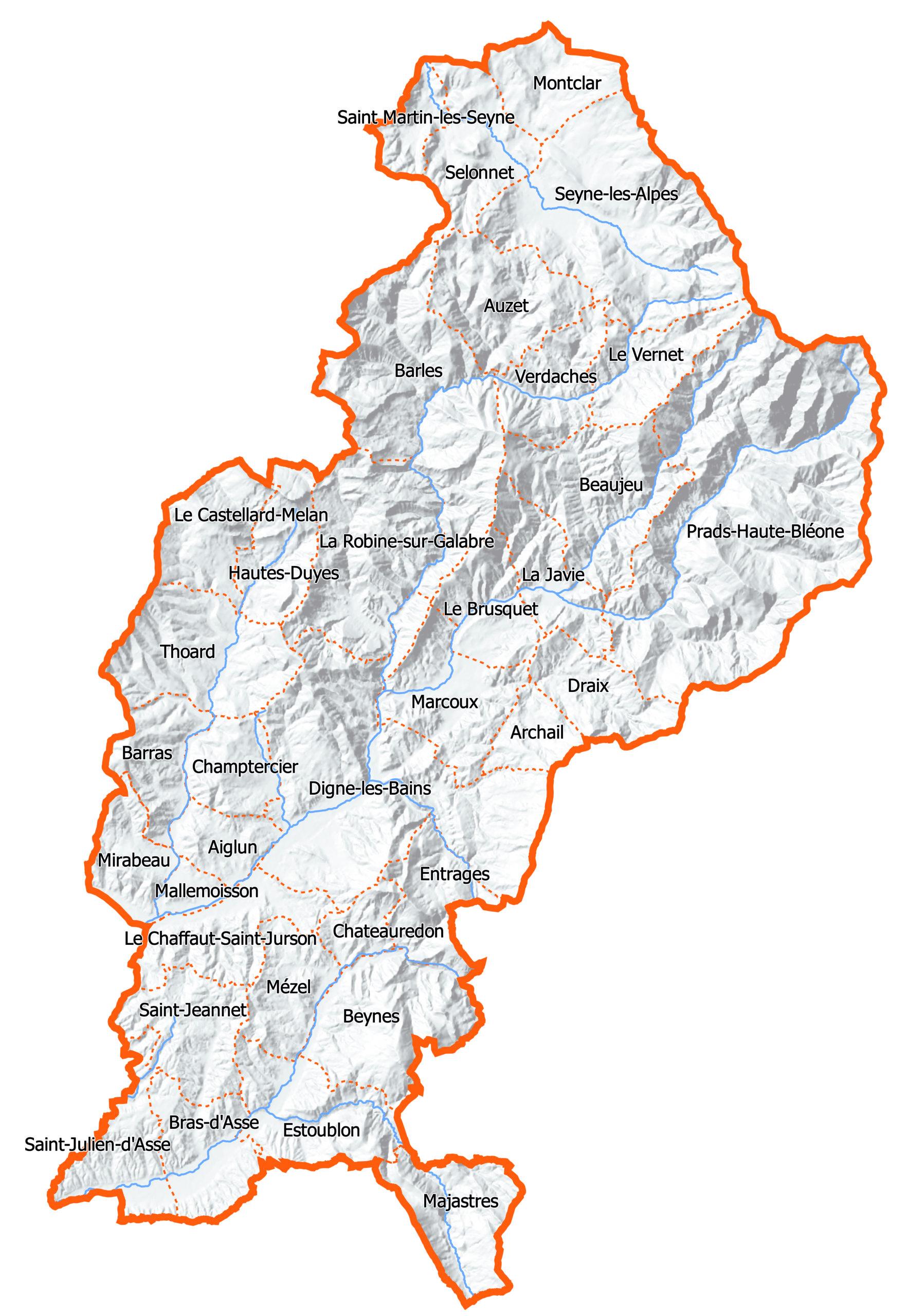 Les communes couvertes par le programme LEADER GAL Dignois
